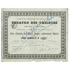 Théâtre des Variétés - Part d'intérêt de 1000 francs -1890