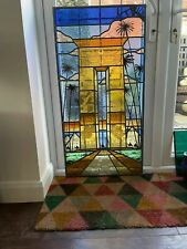 More details for large stained glass egyptian themed art deco window panel camels pyramids desert