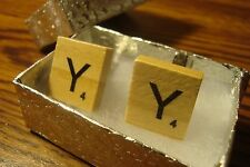 """ Y "" Scrabble Tile Monogram Letter Initial Cufflinks 1 Pair (Two) Silver Plate"