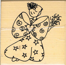 ANGEL - WOODWARE CHRISTMAS ANGEL WOOD MOUNTED RUBBER STAMP