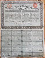 1898 Stock Certificate: 'Monte Rosa Gold Mining Company, Ltd.' - London - Blue