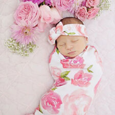 Newborn Baby Girls Floral Swaddle Blanket Sleeping Wrap With Headband Set_GG