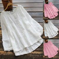 Damen Cotton Langarmshirt Hemdbluse Bluse Hemd Shirt Tunika Oberteil Top Longtop