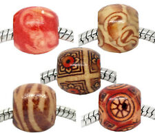 100 Mixed Painted Wood Spacer Beads Fit Charm Bracelet