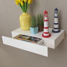 Floating Wall Display Shelf 1 Drawer Book/Key Storage Units Wood White Bookcase