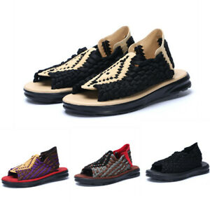 Ethnic Trend Men Slip On Hand-knit Loafers Flat Open Toe Slingbacks Shoes