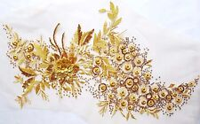 Large 3D Gold Sequined Floral Embroidery Applique Motif Lace Sewing Trim EB0277