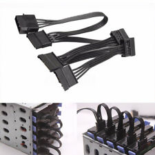 4 Pin IDE Molex To 5 SATA Hard Drive Hard Disk Power Adapter Cable Cord Black