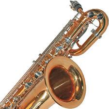 Karl Glaser Bariton Saxophon mit Koffer + Mundstück, Messing, verchromte Klappen