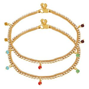 Indian Traditional Crystal Stone Designer Bridal Foot Fashion Jewellery Anklets