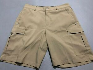 VERY NICE Under Armour Flat Front Athletic Golf Shorts Size 32 Tan/Khaki Mens