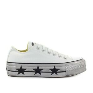 Converse Chuck Taylor All Star White Stars Platform Sneaker  Woman