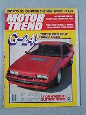 Motor Trend Magazine December 1982 Chrysler G-24 - Mazda 626 - Lamborghini Jalpa