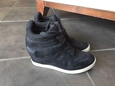 Madden Girl Womens Olleyy High Heel Wedge Sneakers Black Faux Suede size 8.5