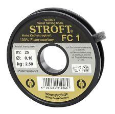 STROFT FC1 Schnur 25 m. 100% Fluorocarbon Vorfach Tippet  0,10 mm --- 0,33mm