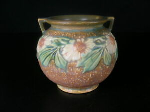 Roseville Art Pottery Dahlrose w/ 2 handles Pot Planter small Urn