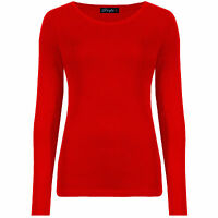 Women's Long Sleeve Stretch Plain Round Scoop Neck T Shirt Top Ladies Fitted Tee