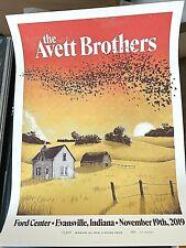 Avett Brothers Poster 2019 Evansville In Nov 19Th 2019 Screen Print A/E #/D