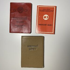 1981 Soviet Union Army document Military ID Ticket Book USSR+Cover+ Red Cross ID