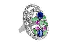 Grande ovale Anello, con Smeraldi, Zaffiri e Rubini, Argento sterling