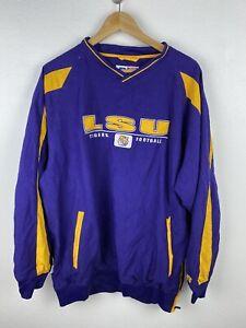 LSU Tigers Football Mens Track Jumper Size L Windbreaker Pullover Sewn Russell