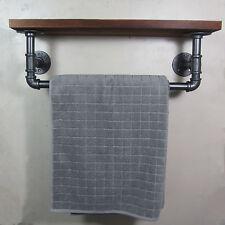 URBAN INDUSTRIAL RUSTIC IRON PIPE TOWEL RAIL WOODED SHELF SHELVING STORAGE