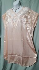 "VENTURA PEACH W/LACE DETAIL CHARMEUSE SLEEPSHIRT SEXY AND COMFY SIZE 3X 54"" BUST"
