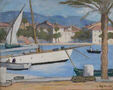 Peinture Henry DEZIRE Sanary le grand voilier 1925 grand art print poster LF2647