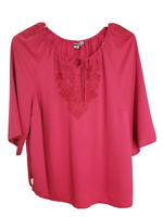 Catherines Women's Casual Formal Embroidered Blouse Plus Size 2x Pink