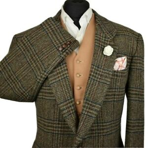 Harris Tweed Tailored Country Checked Blazer Jacket 46R #175 SUPERB COLOURS