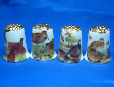 Birchcroft Thimbles -- Set of Four  -- Gold Top Game Birds
