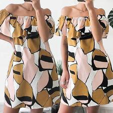 Women Ruffle Flare Floral Dress Mini Off Shoulder Party Beach Sundress Plus Size