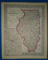 Vintage 1873 ILLINOIS MAP Old Antique Original & Authentic Atlas Map