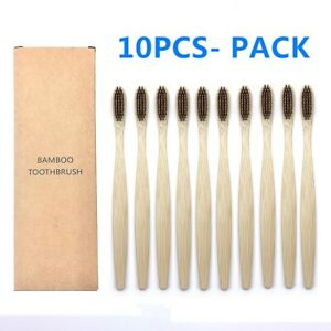 10 PCS Natural Colorful Bamboo  Charcoal Toothbrush Eco Soft Bristle Toothbrush