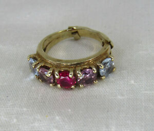 Vintage 10k Gold Ruby Amethyst Blue Topaz 5 stone Setting Ring sz 5.5 / 6