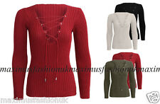 Women Ladies Tie Lace Up Long Sleeve V Neck Ribbed Knitted Stretched Jumper Top