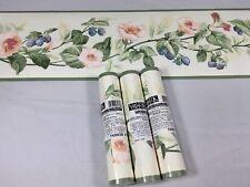 York Wallpaper Border Pink Floral Blue Berry Fruit Vine Sage Green Trim 3 Rolls