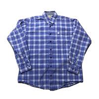 Men's CINCH Blue Plaid Checked Long Sleeve Button Up Western Shirt Sz M Medium
