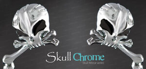 Skull Head Mirror Set Chrome Aluminum Forged with Black Eyes 3-D Design Harley