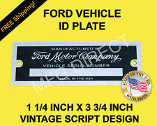 "FORD SERIAL NUMBER PLATE MODEL A T DATA TAG 1 1/4""x3 3/4"" VEHICLE IDENTIFICATION"