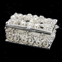 Silver Plated Diamante Crystal Enamel Jewelry Trinket Box Chest Holder Case