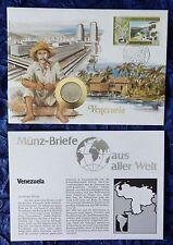 Numisbrief-venezuela-con 1 bolívar moneda - 1989 - + sello
