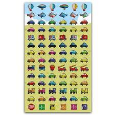 CUTE CAR & TRUCK STICKERS Sheet Transportation Airplane Train Foil Sticker Tiny