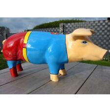 SCHWEIN KUNSTBEMALUNG SUPERMAN 60 cm FERKEL Deko Garten Tier Figur KINO FILM