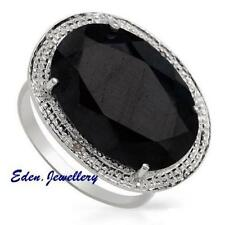 US$300 Gorgeous Cocktail Ring 6.20ctw GENUINE Sapphire & Diamond Sterling Silver