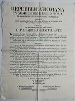Bando Repubblica Romana pensione ai feriti e alle vedove di guerra 29 marzo 1849