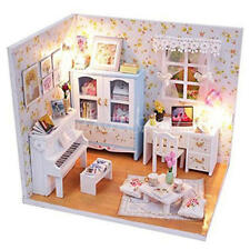 Christmas Gifts Dollhouse Miniature DIY Wood Kit Dolls house with Cover LED Toys