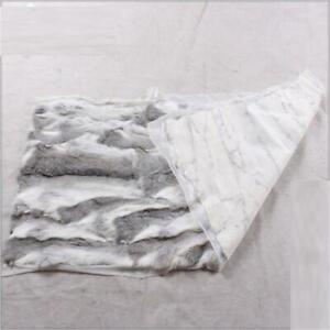 Luxury Rabbit Fur Throw 100% Real Fur Warm Soft Bedspread / Blanket 55*110cm