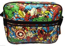 MARVEL COMICS Multi Character PRINT Spiderman, The Hulk, Iron Man MESSENGER BAG