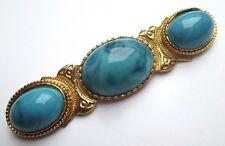 Grande broche barrette couleur or 3 gros cabochons turquoise bijou vintage 2603